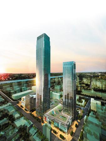 """""""双子塔楼""""分别高452米和314米,设计灵感源於湖南著名的旅游胜地"""